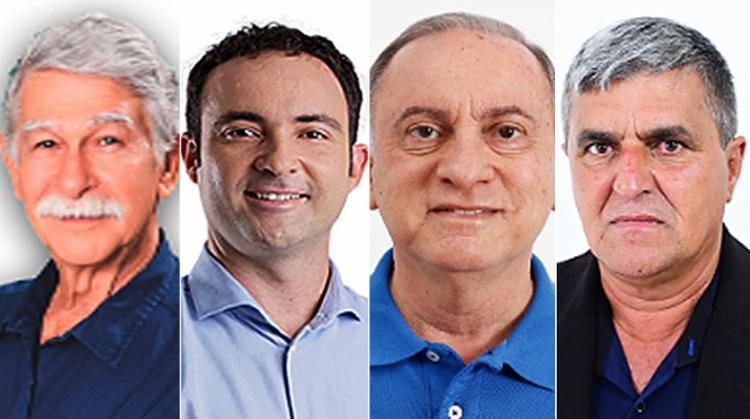 1 - Eduardo Vasconcelos (PSB); 2 - Fabricio é candidato do DEM; 3 - Dr. Geraldo concorre pelo PP; 4 - Tôe Gentil disputa pelo PSDB | Foto: Montagem A TARDE - Foto: Montagem A TARDE
