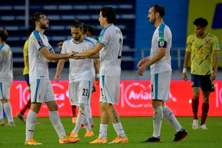 Com este resultado, o Uruguai soma agora 6 pontos e subiu para o pelotão da frente na tabela | Foto: Raul Arboleda | AFP - Foto: Raul Arboleda | AFP