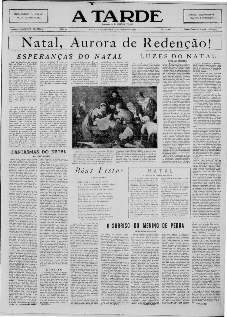 A TARDE manteve tradição de publicar capa especial em 24/12/1952