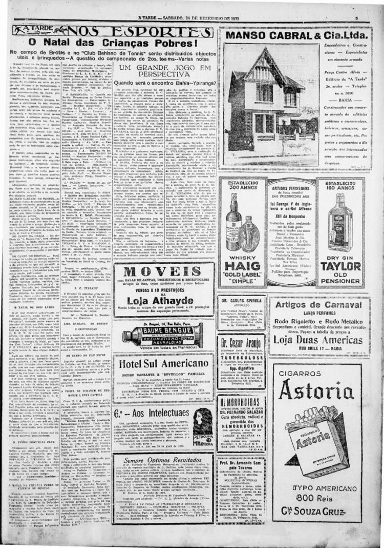 Em 24/12/1932, festa para crianças no Estádio da Graça