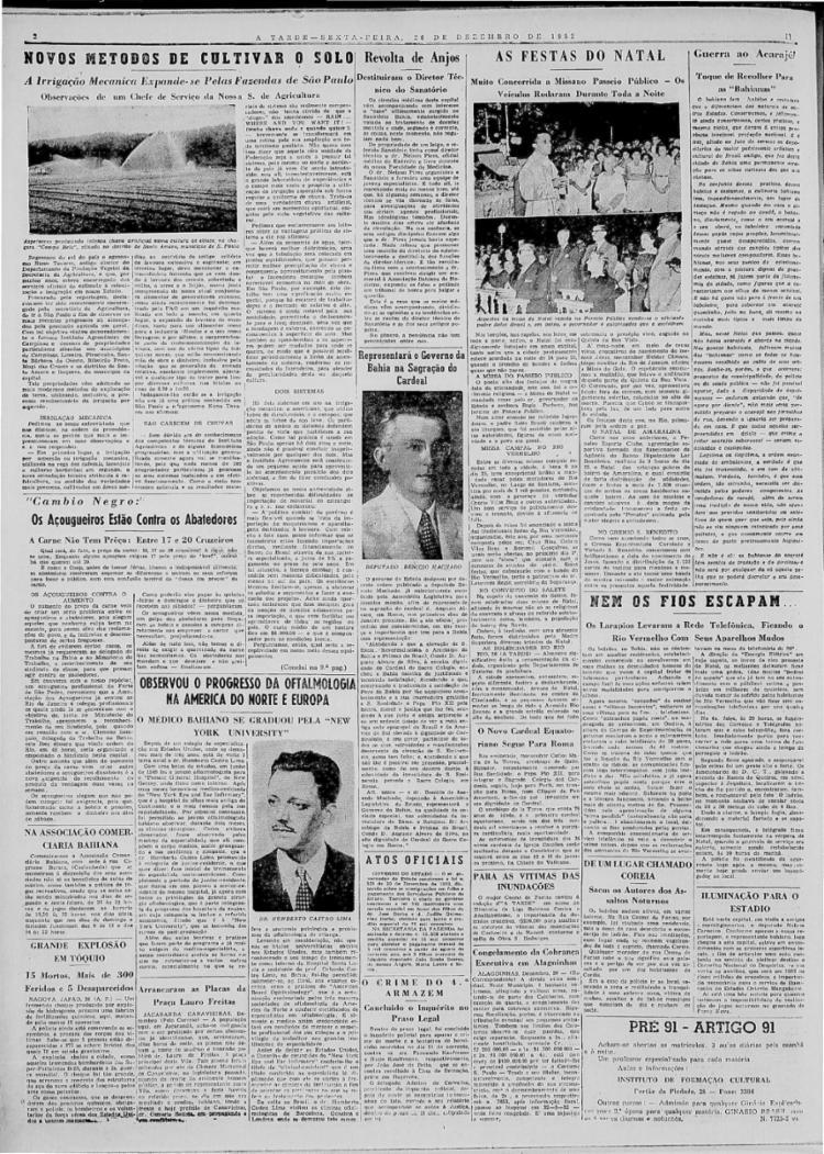 Cobertura conta como foi a celebração de Natal de 26/12/1952 em vários pontos da cidade e o ataque ao ofício das baianas de acarajé