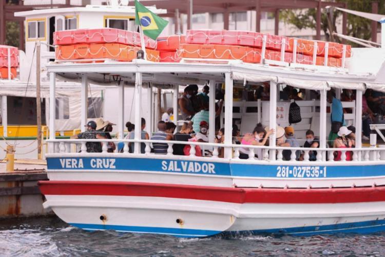 Operações serão suspensas às 18h30 por conta da maré baixa | Foto: Olga Leiria | Ag. A TARDE - Foto: Olga Leiria | Ag. A TARDE