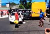 Colisão entre carros e micro-ônibus deixa trânsito lento em São Cristóvão | Foto: Divulgação | Transalvador