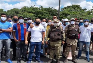 Torcedores do Bahia realizam protesto no CT Evaristo de Macedo; Tricolor treinou na Fonte Nova | Divulgação