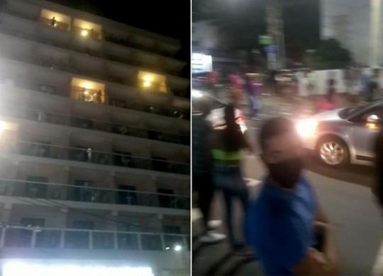 Pessoa misteriosa joga dinheiro de hotel e causa aglomeração na Barra | Reprodução