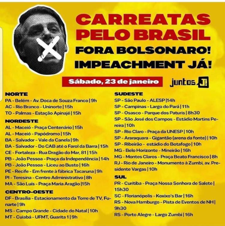 Movimento apoia impeachment do presidente Jair Bolsonaro - Foto: Divulgação