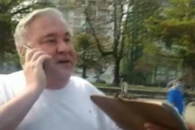 Desembargador foi flagrado humilhando um guarda civil que o multou por estar sem máscara | Foto: Reprodução | TV Tribuna - Foto: Reprodução | TV Tribuna