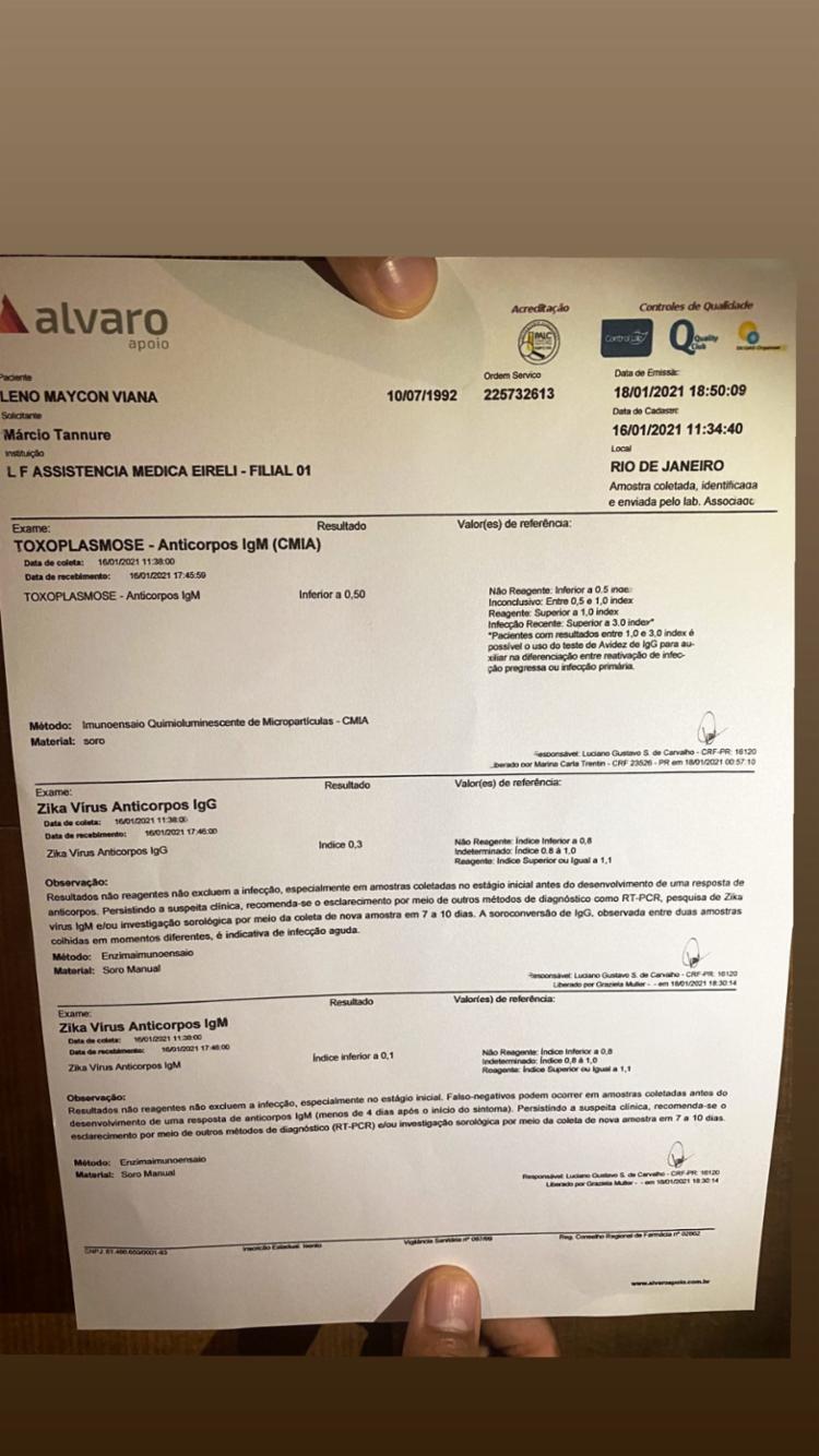 Nego do Borel mostra exames na rede social para rebater que não transmitiu HPV a Duda Reis | Foto: Reprodução | Instagram
