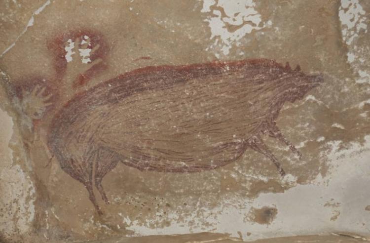 Medindo 136 centímetros de comprimento e 54 de altura, o javali verrugoso de Celebes foi pintado com pigmento ocre escuro | Foto: Reprodução - Foto: Reprodução