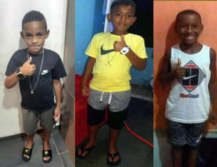 Lucas Matheus, 8 anos, Alexandre da Silva, 10 anos e Fernando Henrique, 11 anos, desapareceram no dia 27 de dezembro | Foto: Reprodução - Foto: Reprodução