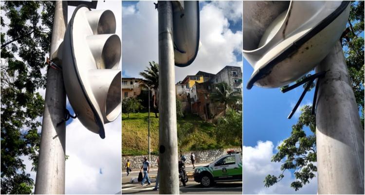 Fios de semáforos foram cortados | Foto: Divulgação | Transalvador - Foto: Divulgação | Transalvador