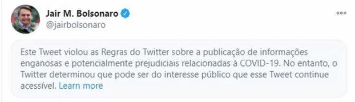 Post de Bolsonaro trazia desinformação sobre a Covid-19