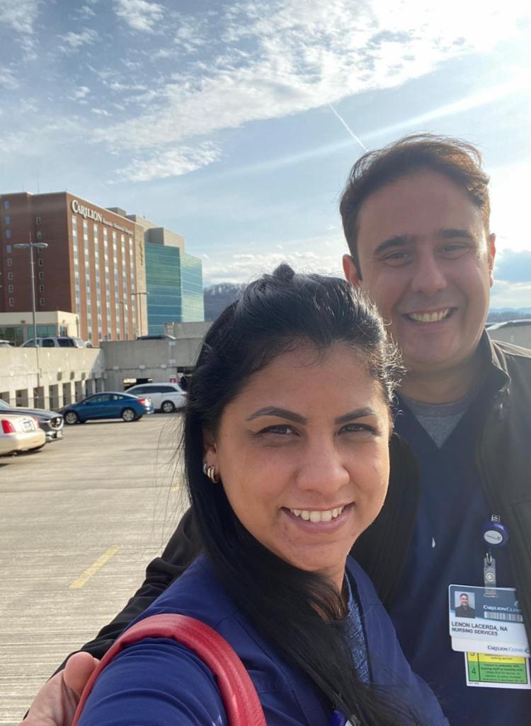 Casal de enfermeiros trabalha no mesmo hospital e mora nos EUA há pouco mais de um ano | Foto: Reprodução | Arquivo Pessoal