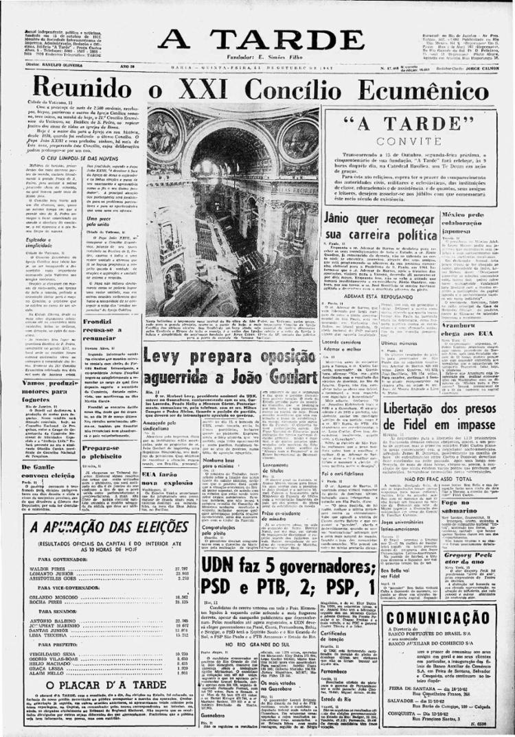 A TARDE destaca, na capa de 11/10/1962, a instalação do Concílio Vaticano II
