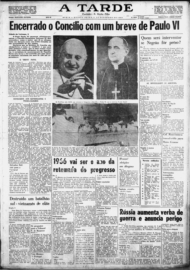 Capa dá amplo espaço ao desfecho do concílio, sob liderança de Paulo VI
