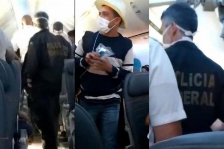Passageiro foi conduzido para fora da aeronave pela PF | Foto: Reprodução - Foto: Reprodução