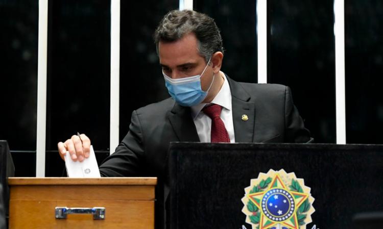 O presidente Rodrigo Pacheco (DEM-MG) durante votação   Foto: Marcos Oliveira   Agência Senado - Foto: Marcos Oliveira   Agência Senado