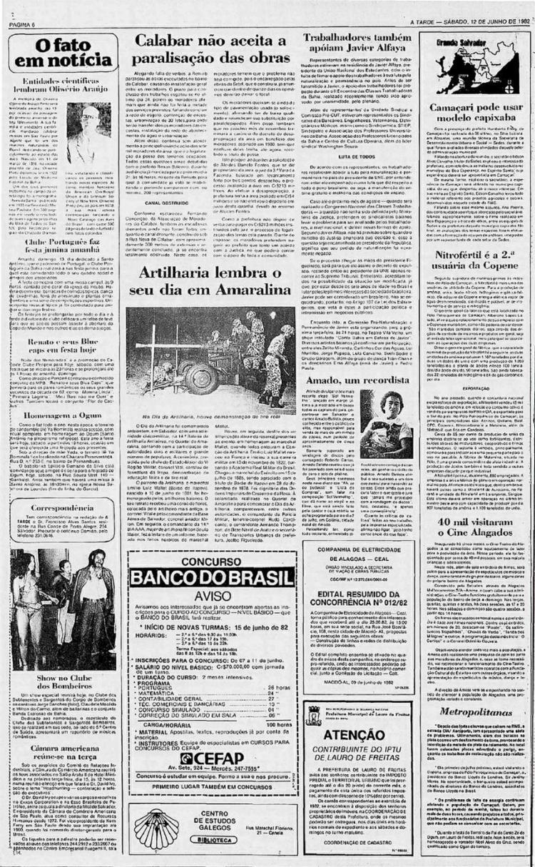 Edição anuncia show em defesa de Javier   Foto: Arquivo A TARDE   12.6.1982