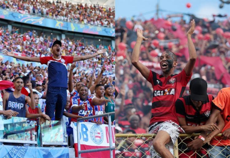Ao longo de muitos anos, Bahia e Vitória têm sido os únicos times baianos a conseguirem se manter entre as primeiras divisões do futebol nacional | Foto: Adilton Venegeroles e Raul Spinassé | Ag. A TARDE