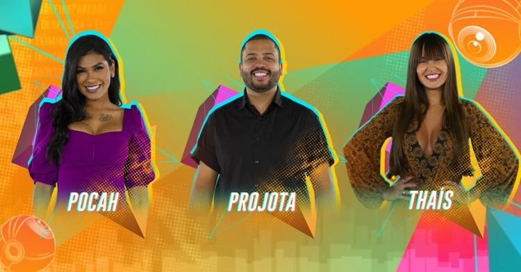 Pocah, Projota e Thaís disputam a preferência do público no sétimo paredão do BBB 21  Foto: Reprodução   Globo - Foto: Reprodução   Globo