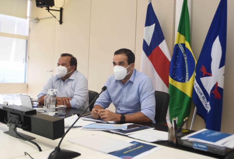 Geraldo e o prefeito de Salvador, Bruno Reis (DEM), se reuniram com a diretoria do Sinduscon-BA | Foto: Divulgação - Foto: Divulgação