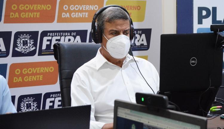 Prefeito Colbert Martins falou sobre situação da pandemia no município em coletiva / Foto: Jorge Magalhães   PMFS - Foto: Jorge Magalhães   PMFS