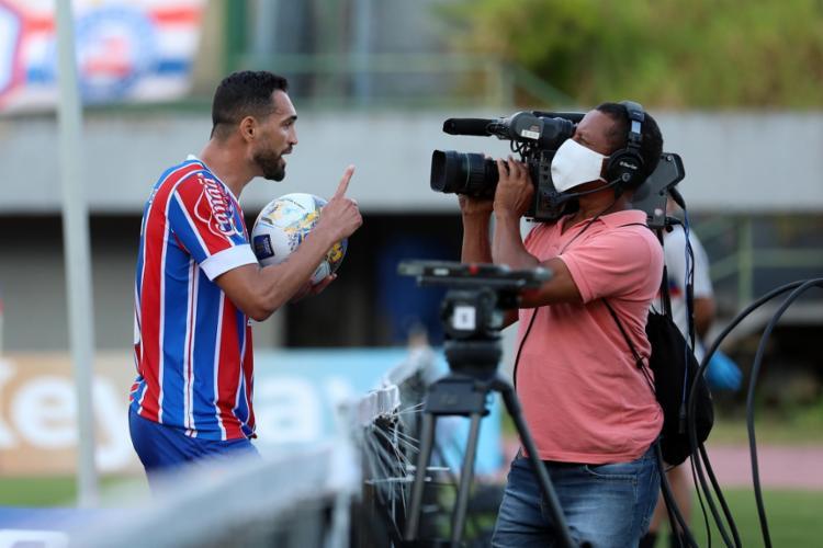 Gilberto marcou quatro gols contra o Altos-PI | Foto: Felipe Oliveira | EC Bahia - Foto: Felipe Oliveira | EC Bahia