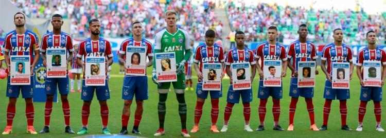 Em 2018, no Dia das Mães, Tricolor promoveu ação para localizar pessoas desaparecidas; acima das fotos, havia o pedido: 'Ajude uma mãe a encontrar seu filho' | Foto: Felipe Oliveira | EC Bahia - Foto: Felipe Oliveira | EC Bahia
