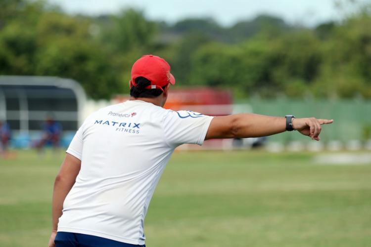 O treinador aproveitou para montar a provável equipe titular que enfrentará o 'Belo' | Foto: Felipe Oliveira | EC Bahia - Foto: Felipe Oliveira | EC Bahia