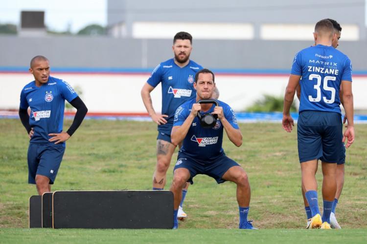 O plantel realiza o último treino em solo baiano nesta quinta-feira | Foto: Felipe Oliveira | EC Bahia - Foto: Felipe Oliveira | EC Bahia