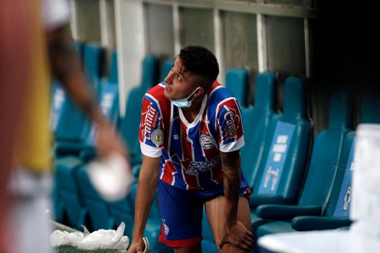 O atleta rompeu o ligamento anterior do joelho esquerdo durante a derrota do Bahia para o Fluminense, no dia 3 de fevereiro | Foto: Felipe Oliveira | EC Bahia - Foto: Felipe Oliveira | EC Bahia