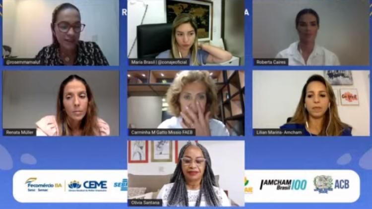 Bate-papo da Fecomércio teve como objetivo fortalecer as lideranças femininas e aumentar a representatividade de mulheres - Foto: Reprodução | YouTube