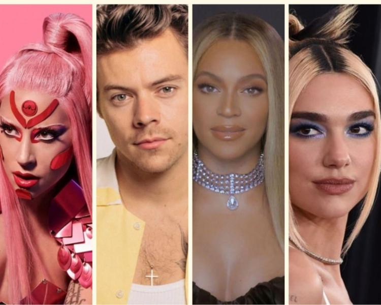 Lady Gaga, Harry Styles, Beyoncé e Dua Lipa são alguns dos indicados ao prêmio que ocorre neste domingo - Foto: Divulgação
