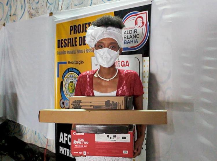 A produtora Tulymar Costa, 39, desenvolve projeto com o afoxé Filhos do Congo   Foto: Divulgação   3.3.2021 - Foto: Divulgação   3.3.2021
