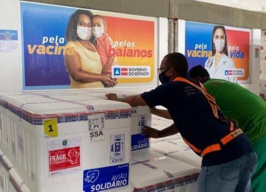 Bahia recebe 396 mil doses de vacinas contra Covid-19; 104 mil a menos que o esperado | Divulgação | Sesab