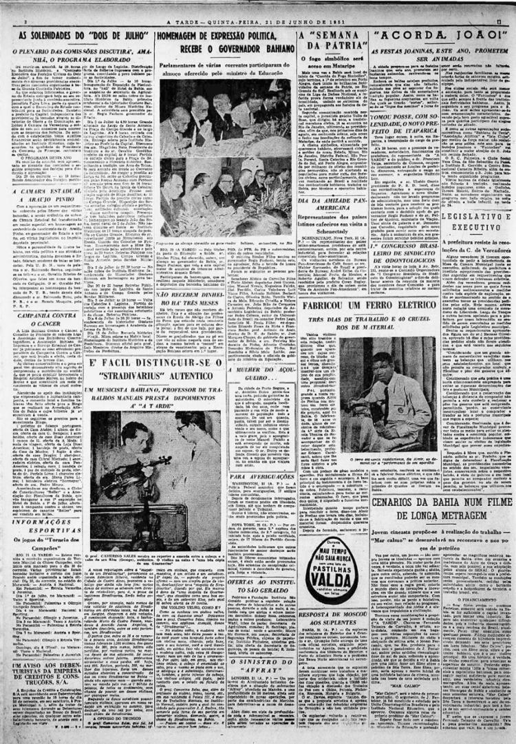 Reportagem mostra técnicas para reconhecer quando violinos são originais | Foto: Arquivo A TARDE | 21.6.1951