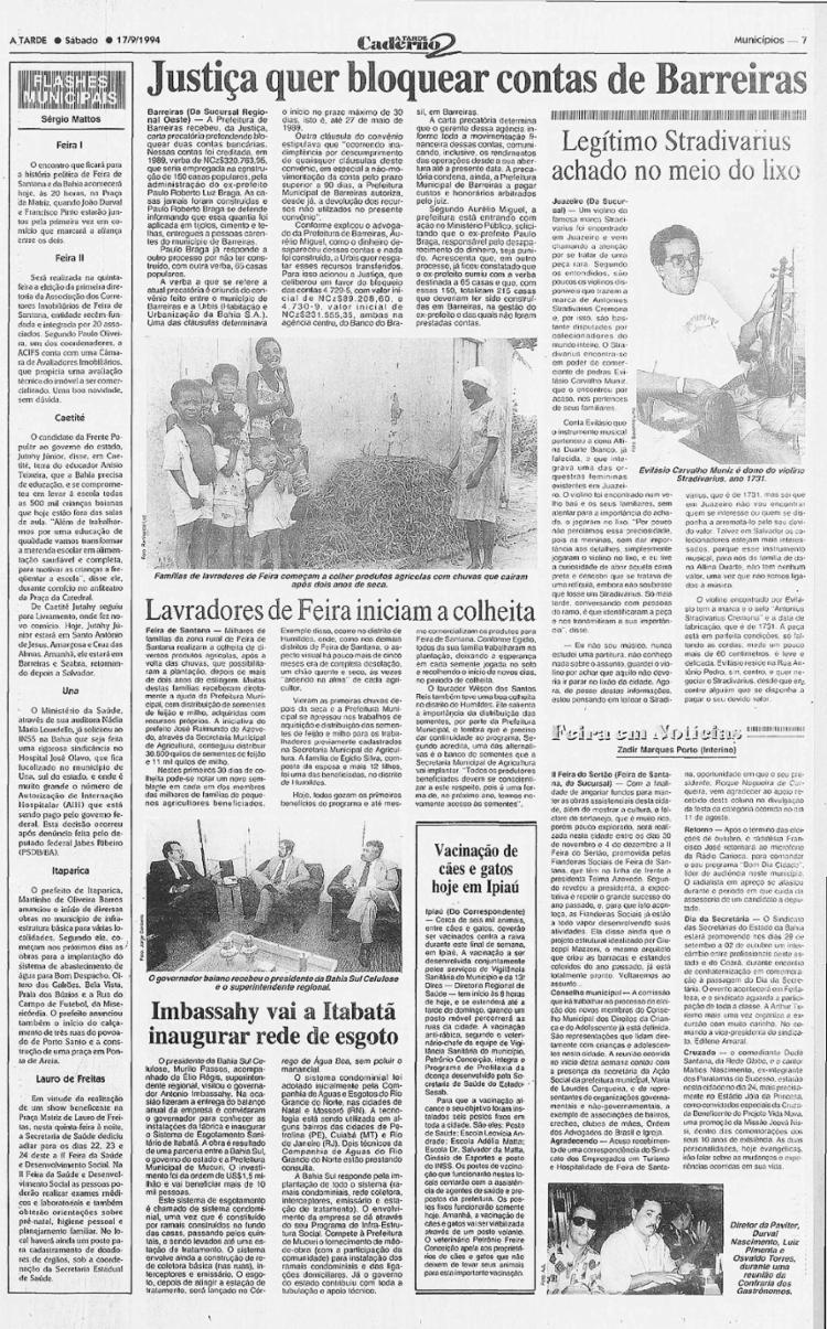 Texto aborda reivindicação da existência de violino Stradivarius em Juazeiro || 17.9.1994