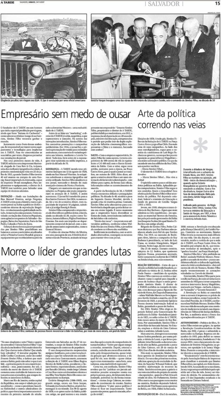 Matéria sobre os 50 anos da morte de Simões Filho abordou avanços tecnológicos como uma das marcas características de A TARDE | Foto: Arquivo A TARDE | 24.11.2007