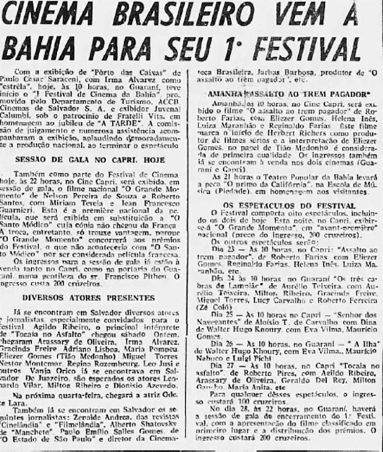 Na capa da edição de 22 de outubro de 1962 A TARDE destacou o início do festival que homenageou os 50 anos da fundação do jornal