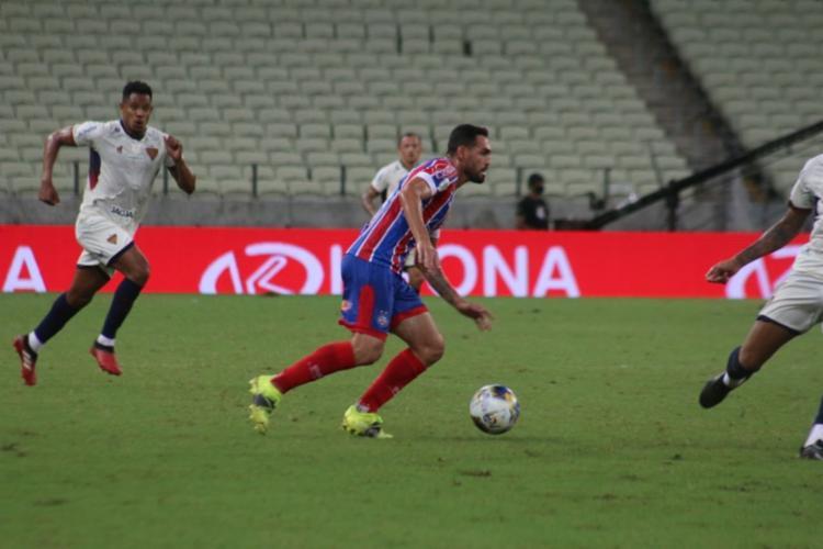 Gilberto dessa vez não marcou, mas o Bahia seguiu pra final - Foto: Rafael Machaddo/ EC Bahia