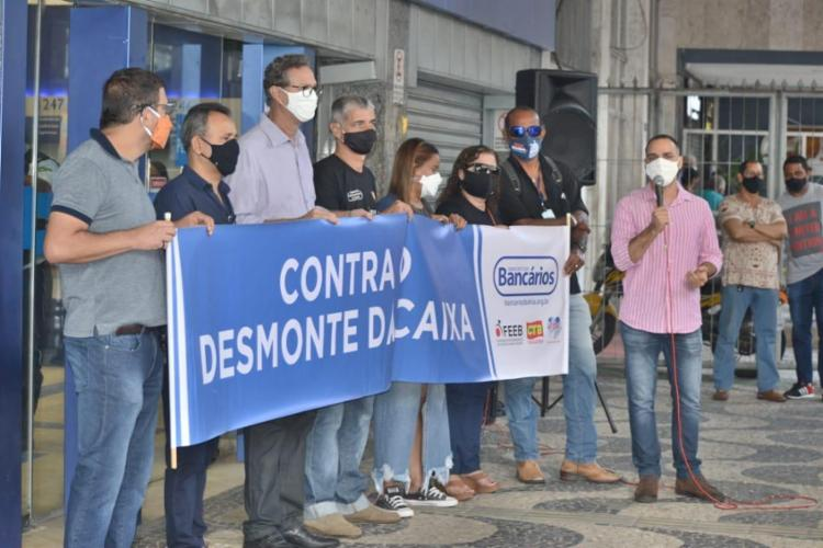Em Salvador, uma manifestação está programada na agência da Caixa localizada nas Mercês | Foto: Divulgação | Sindicato dos Bancários - Foto: Divulgação | Sindicato dos Bancários