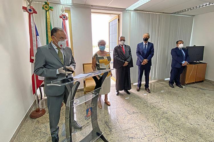 Cerimônia de posse ocorreu no Gabinete da Presidência do TJ-BA | Foto: Divulgação | TJ-BA - Foto: Divulgação | TJ-BA
