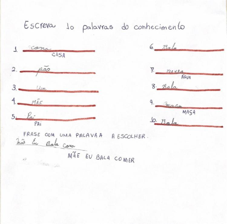 Atividade realizada pelo aluno para identificação da fase que o discente se encontra segundo Brochado (2006) - FONTE: ALUN@ 5 | Foto: Divulgação