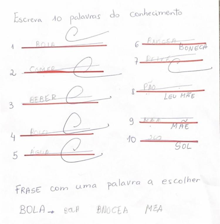 Atividade realizada pelo aluno para identificação da fase que o discente se encontra segundo Brochado (2006) - FONTE: ALUN@ 1 | Foto: Divulgação