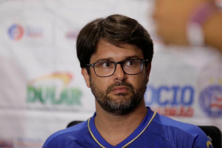 Presidente falou sobre renovação e chegadas ao clube | Foto: Tiago Caldas | Ag. A TARDE - Foto: Tiago Caldas | Ag. A TARDE