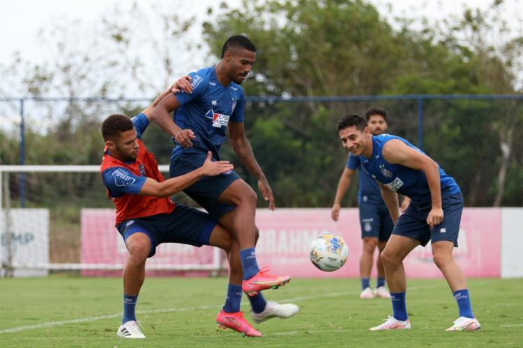 O treino tático exercitou a criação de jogadas ofensivas do time | Foto: Felipe Oliveira | EC Bahia - Foto: Felipe Oliveira | EC Bahia