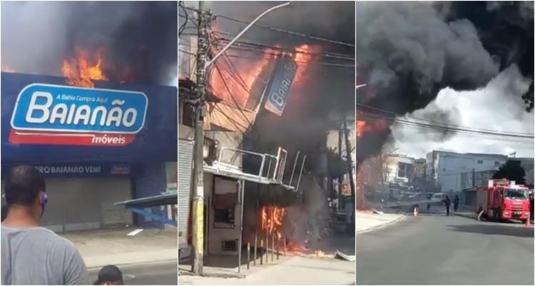 Loja da rede Baianão Móveis foi tomada pelas chamas | Foto: Reprodução - Foto: Reprodução