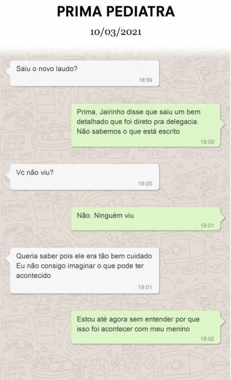 Conversa entre Monique Medeiros e a pediatra de Henry Borel   Foto: Divulgação