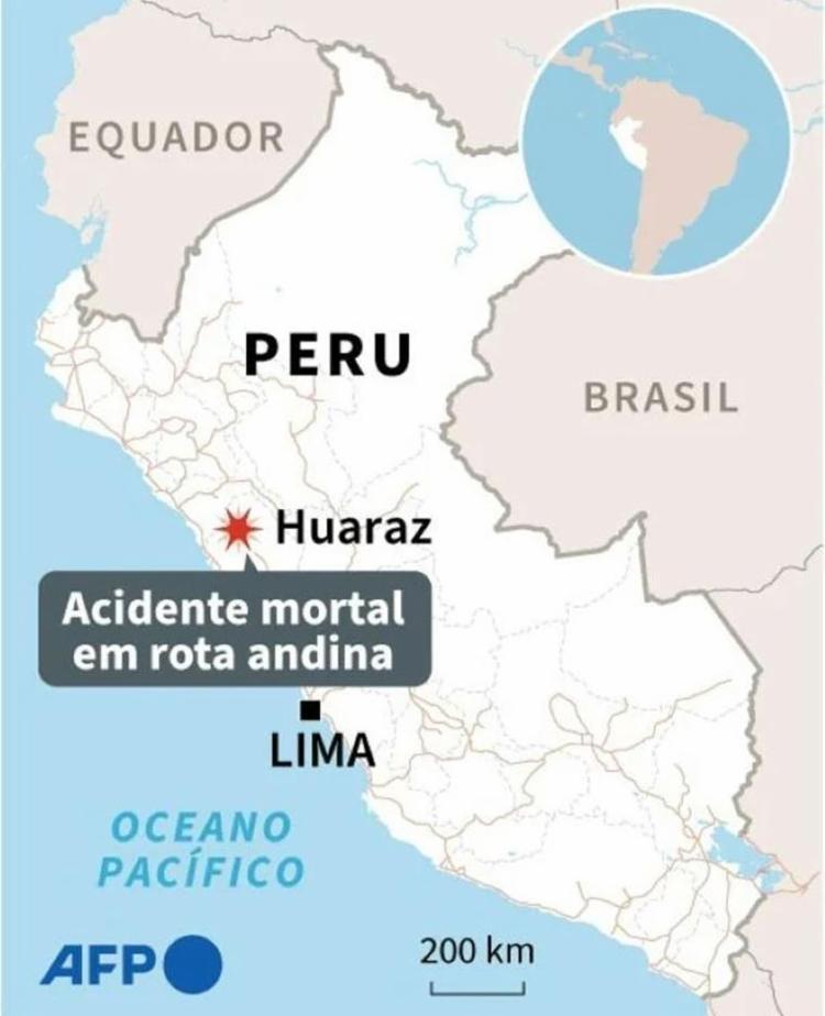 Acidente aconteceu em rota andina no Peru | Foto: AFP - Foto: AFP