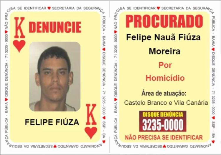 Suspeito foi identificado pela SSP-BA como Felipe Fiúza | Foto: Divulgação | SSP-BA - Foto: Divulgação | SSP-BA